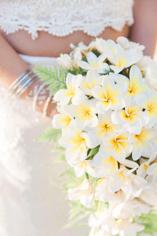 Brides Frangipani bouquet at her destination wedding in Mauritius