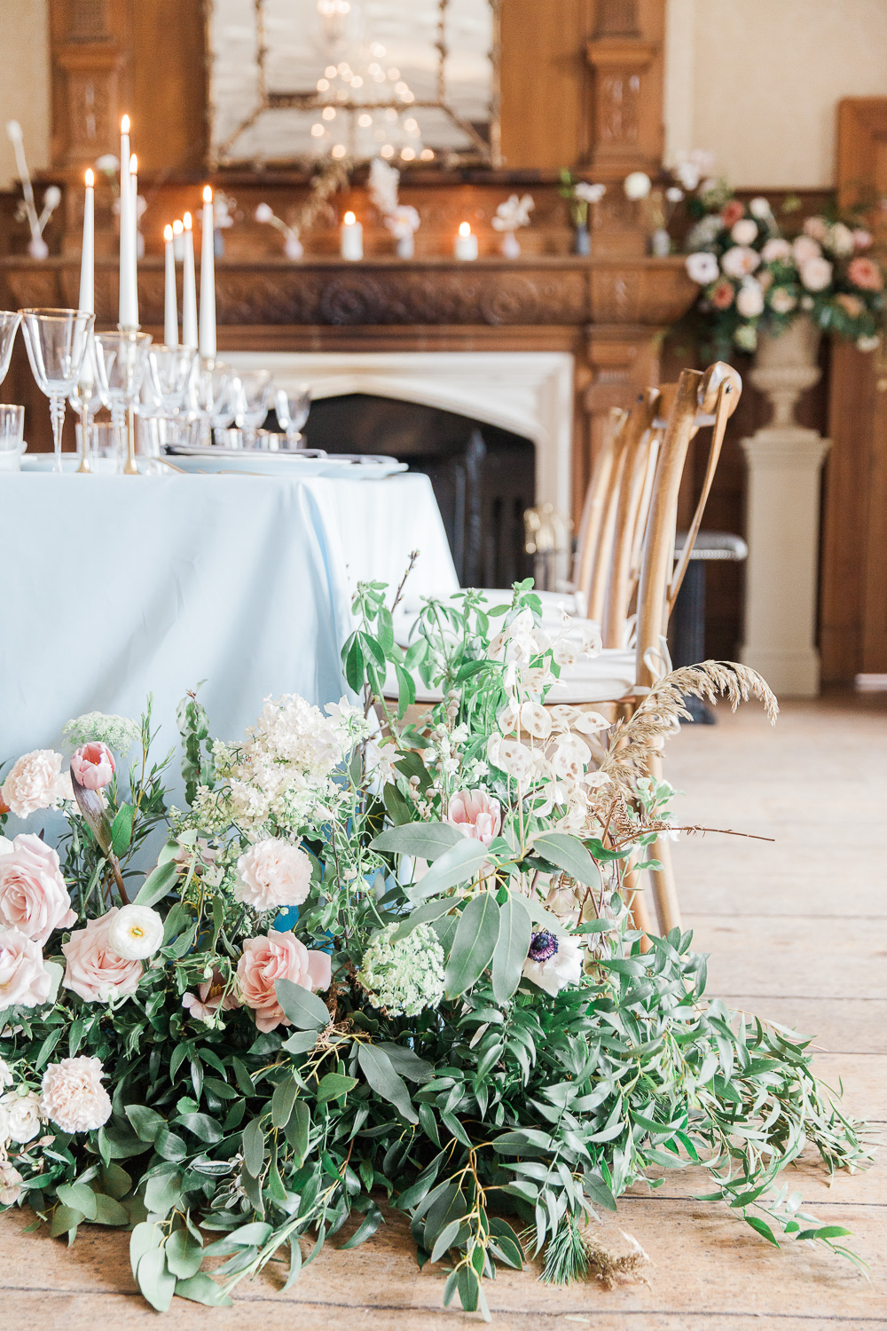 Wedding table with Spring flowers at Froyle Park wedding venue in the UK