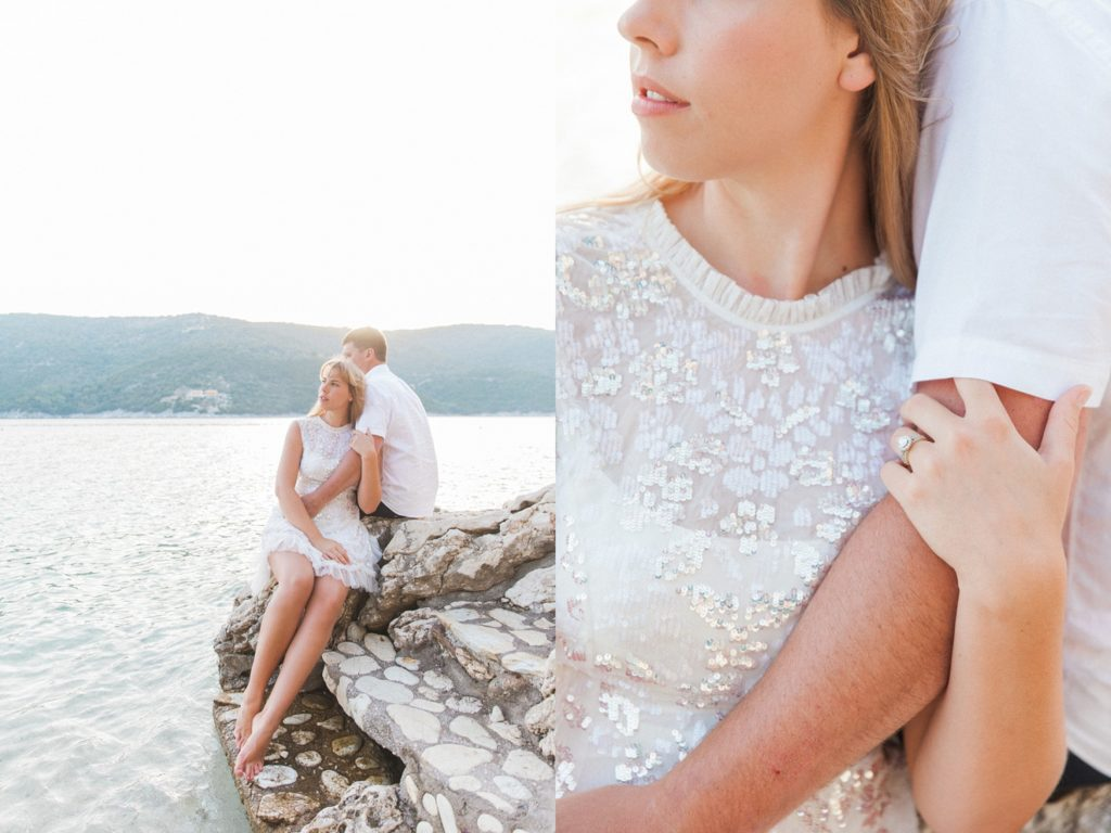 Sunset couple portraits on the private beach at San Nicolas Resort Hotel in Lefkada