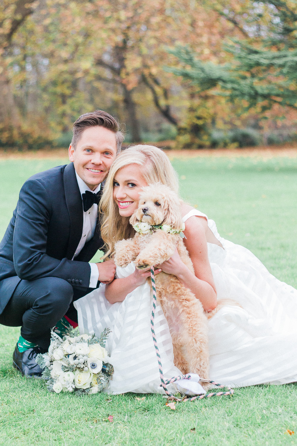 Portrait of the bride, groom and their mini french poodle london wedding photographer Maxeen Kim