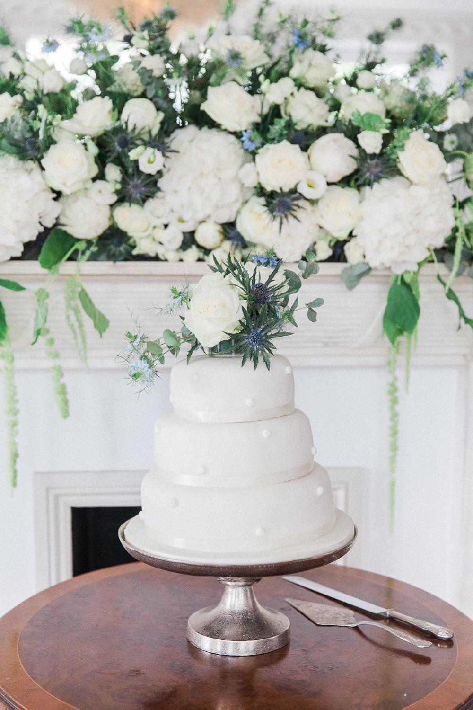 White wedding cake at Belair House wedding venue in London