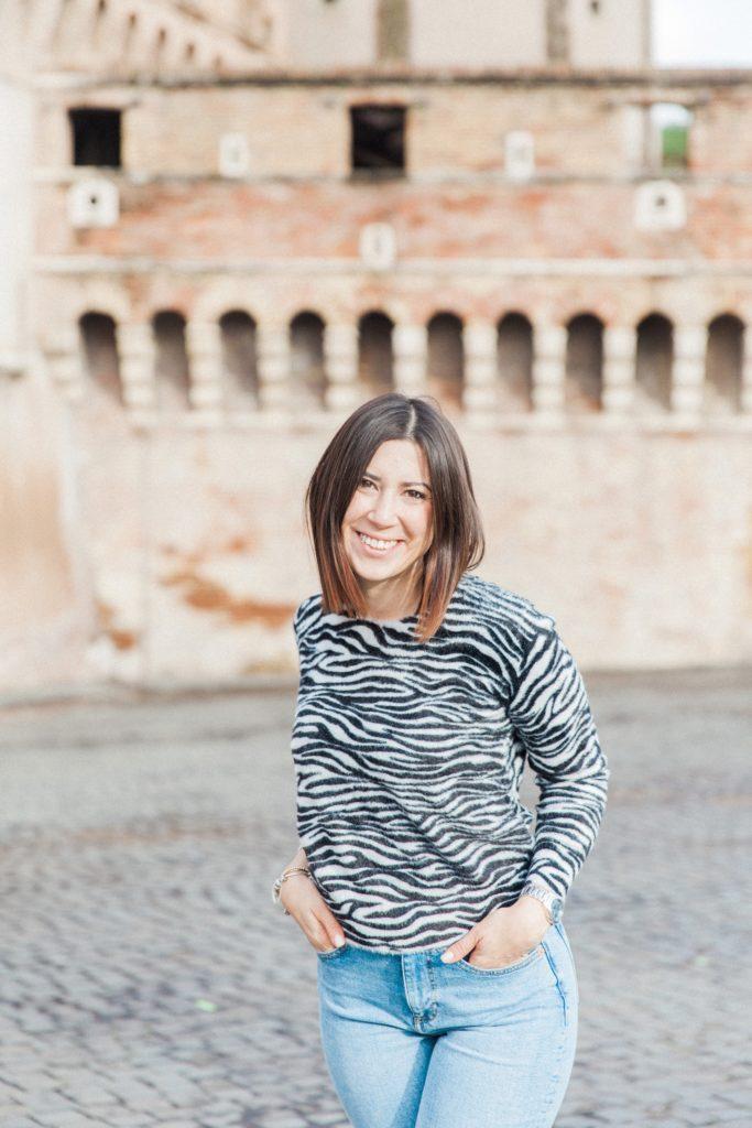 Portrait of an Italian woman in zebra print in Rome