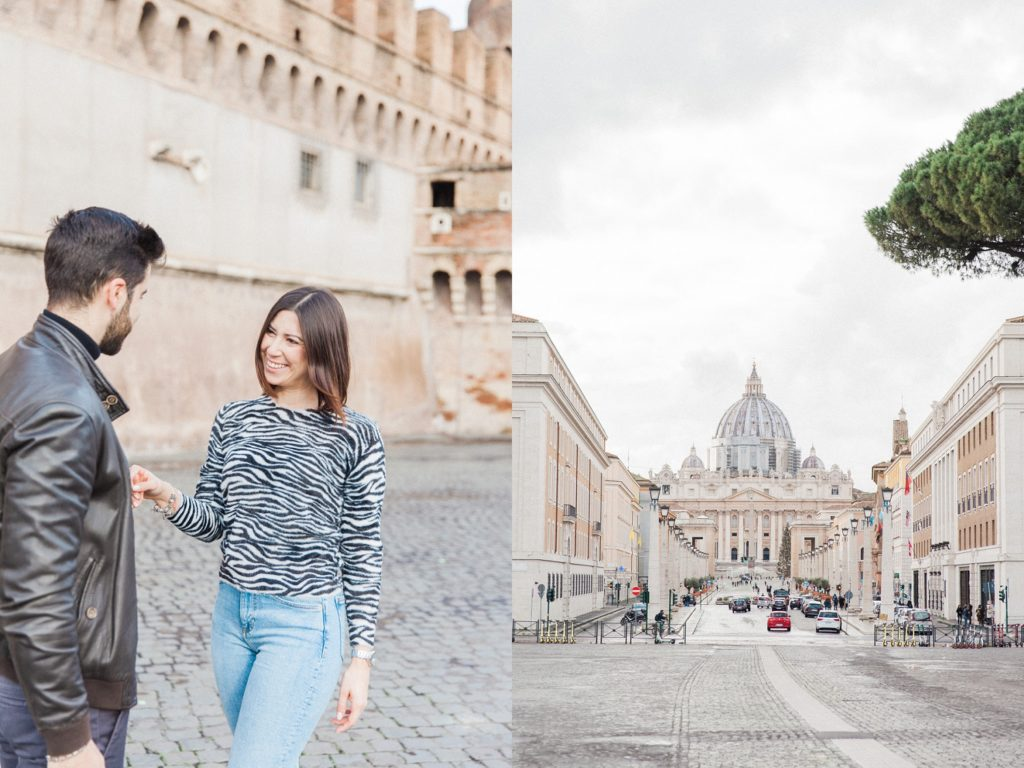 Happy couple in front of Castel Sant'Angelo in Rome and a view of St. Peter's Basilica