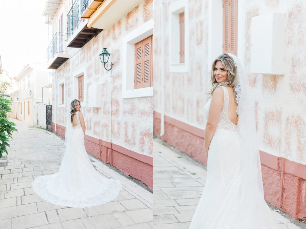 Portraits of the bride on the pastel streets of Lefkada in Greece
