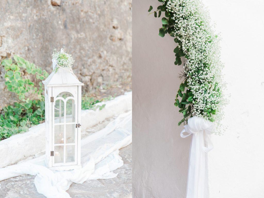 White lantern and gypsophila decor at the Greeek church inside Santa Maura Castel in Lefkada Greece