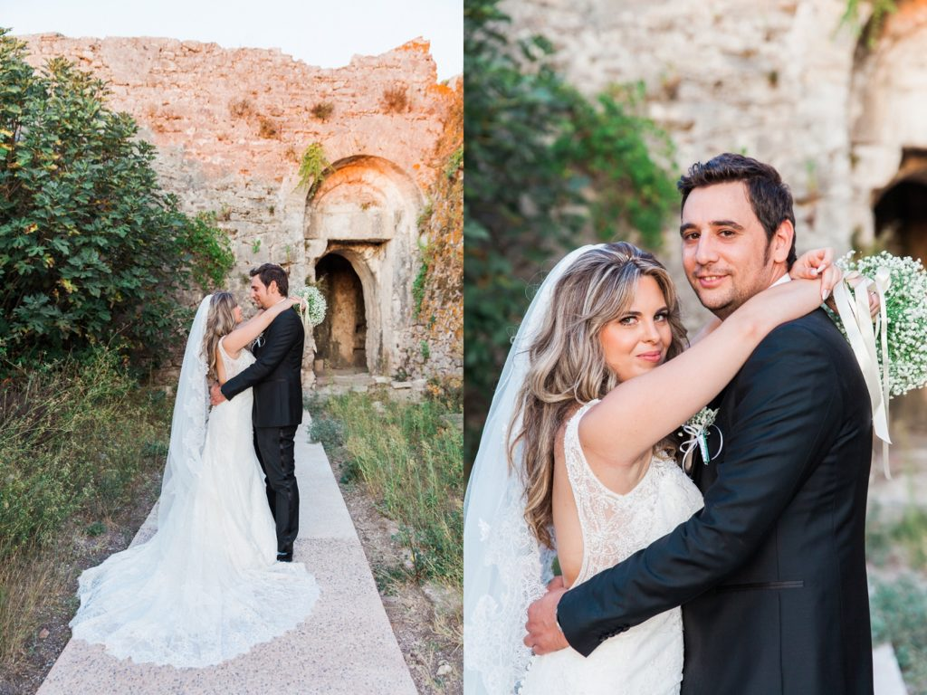 Romantic portraits of the couple against the walls of the Santa Maura Castle in Lefkada