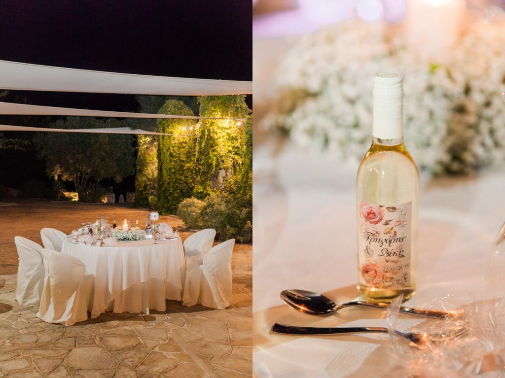 Wedding table and white wine favour at Ionian Blue Resort Hotel and Spa