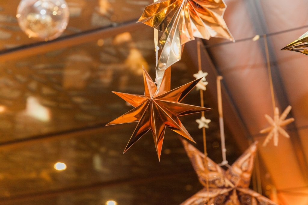 Gold star decorations in the Secret Garden bar in South Place Hotel