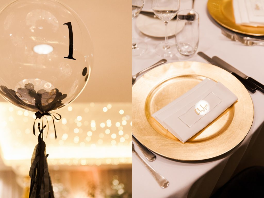 Balloon centrepieces and gold table settings at South Place Hotel wedding
