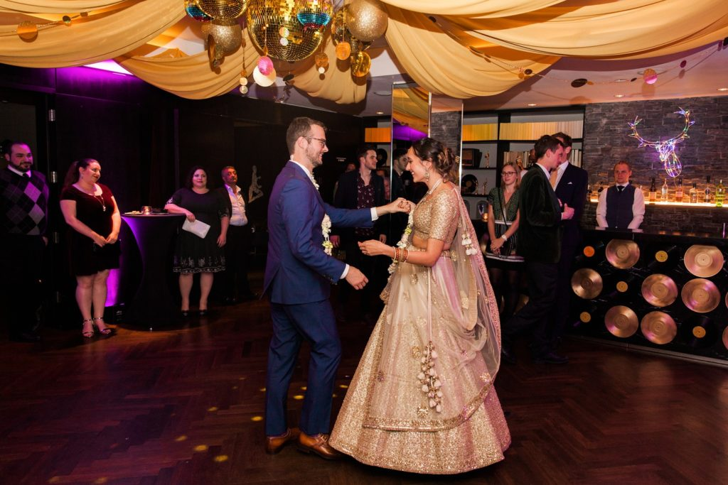 Bride and grooms first dance at South Place Hotel in London