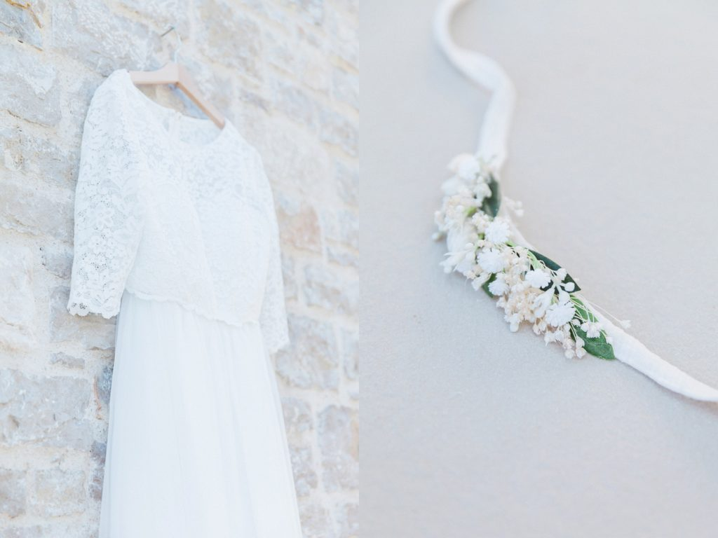 Brides two piece wedding dress and dried flower bracelet