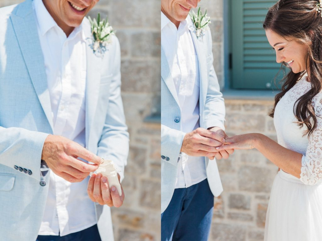 Groom puts the brides wedding band on her finger
