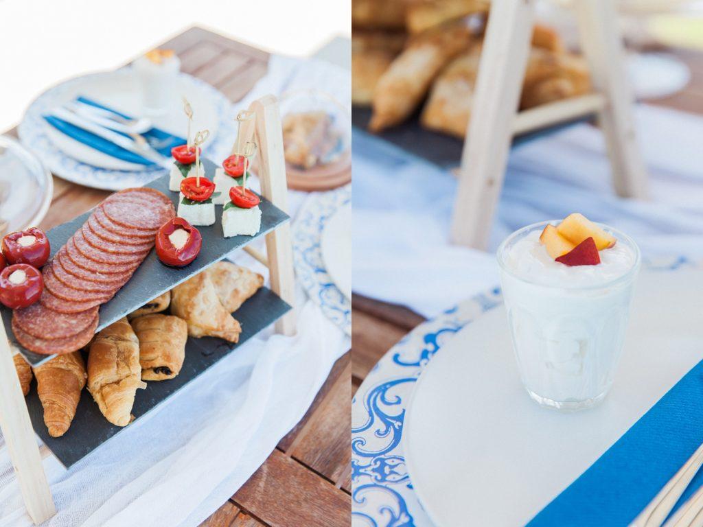 Picnic lunch style wedding breakfast with fresh fruit and Greek yoghurt