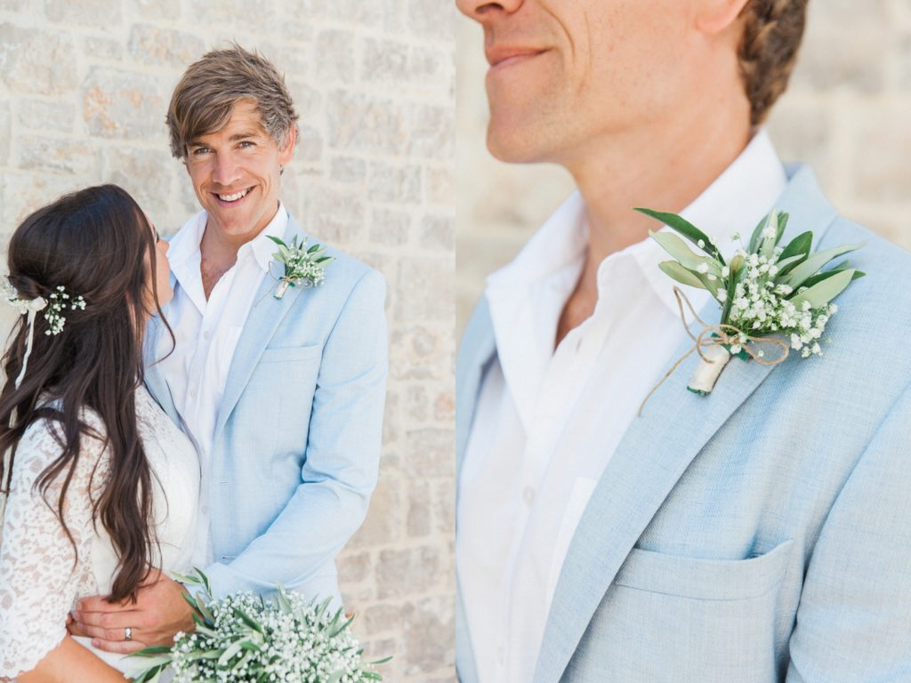 Portrait of the groom and a close up of his olive buttonhole