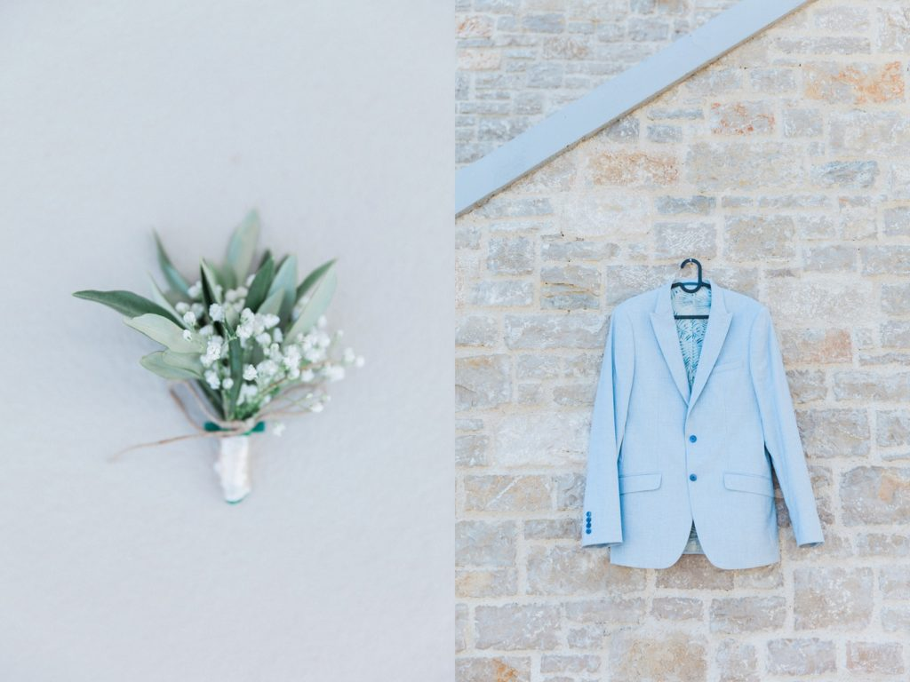 The grooms Ted Baker jacket and olive buttonhole