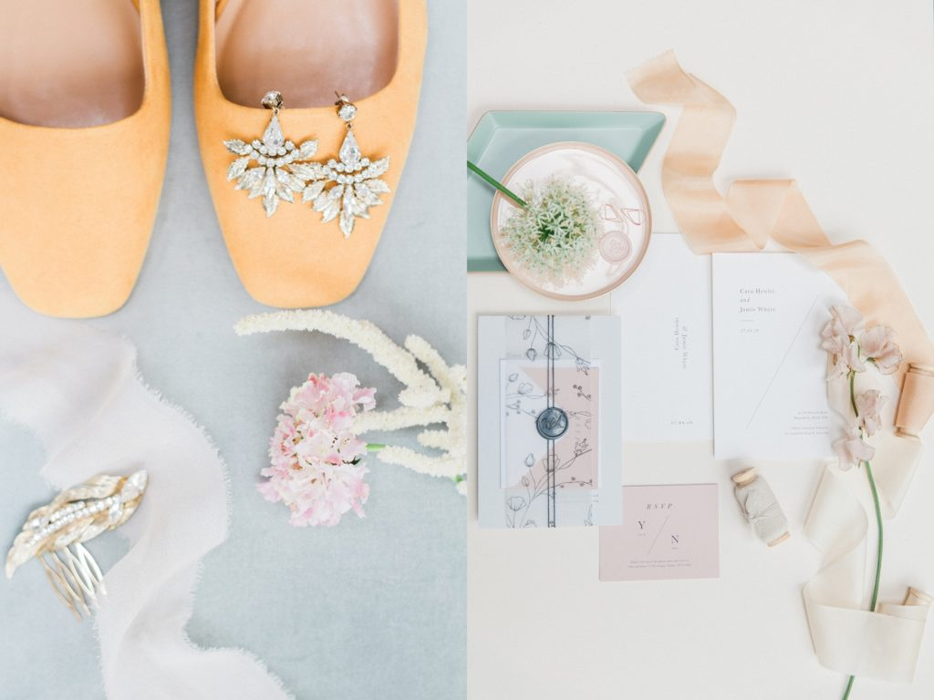 Colourful wedding details including antique earrings, yellow wedding shoes, pastel wedding stationery and silk ribbons