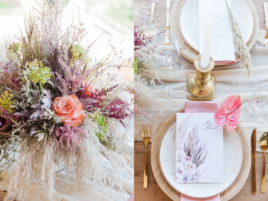 Boho wedding table details at a Crystal Waters Lefkada wedding