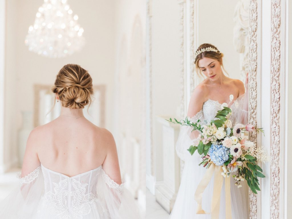 Bride wearing a floaty and ethereal wedding dress with her hair in a lose upstyle