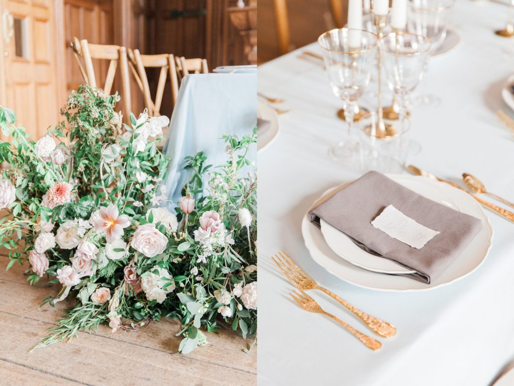 Beatrix Potter inspired reception table with wild flowers and gold details