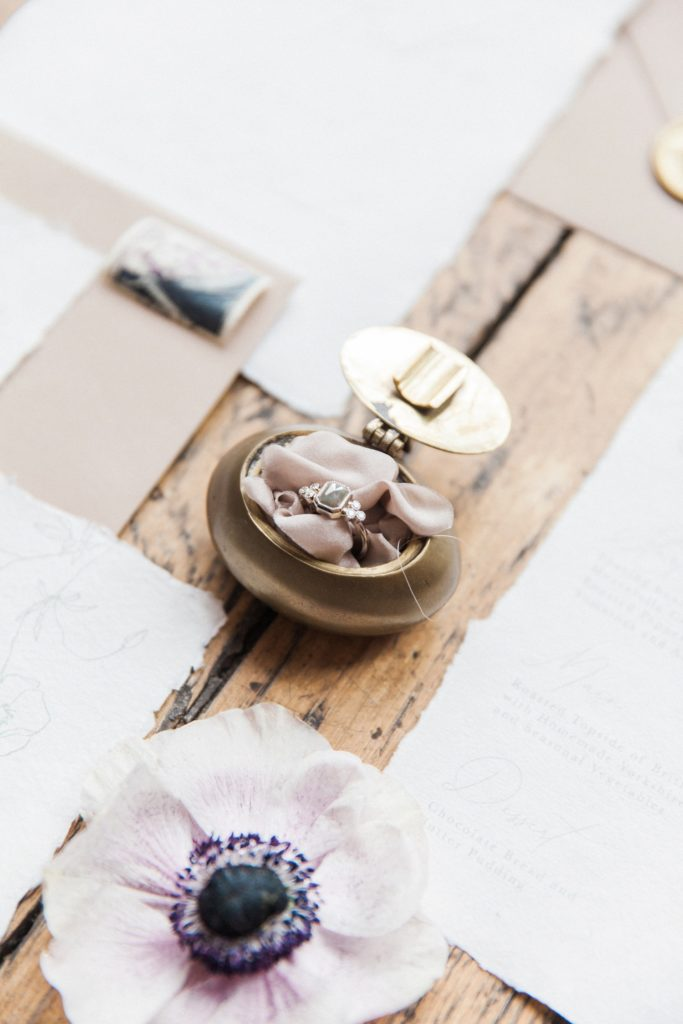 Engagement ring by Lilia Nash Jewellery with wedding stationery inspired by Beatrix Potter