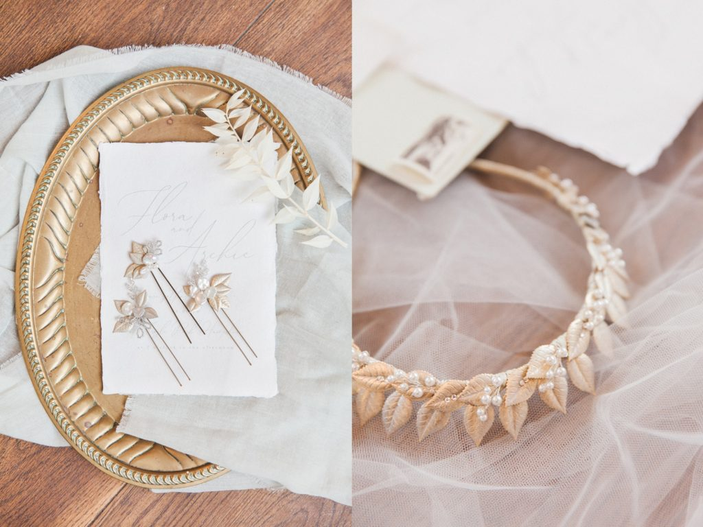 Wedding hair accessories and gold bridal crown by Donna Crain