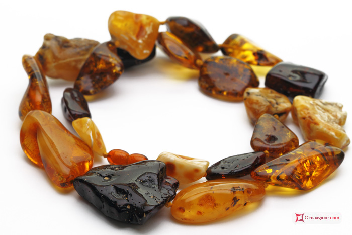 Extra Amber Necklace multicolor 40-22mm graduated stones