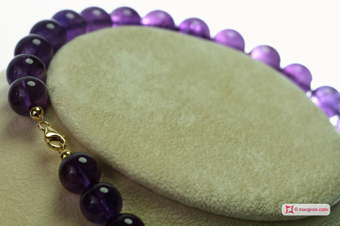 Extra Amethyst Necklace 12mm round in Gold 18K