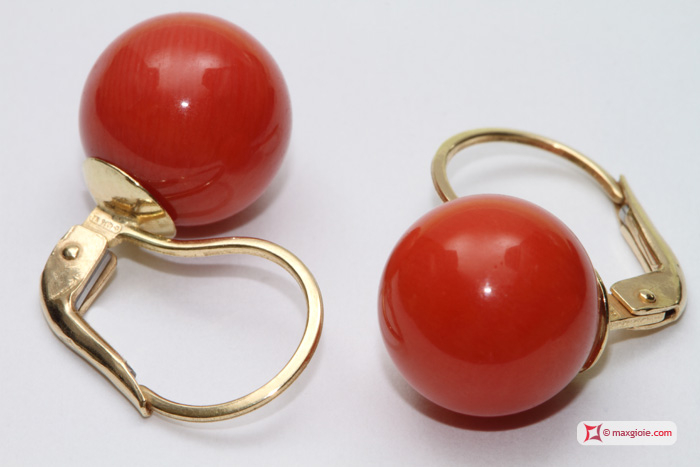 Extra Red Coral Earrings 10¾-11mm in Gold 18K m
