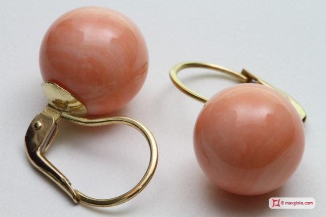 Extra Pink Coral Earrings 11½-12mm in Gold 18K mmg