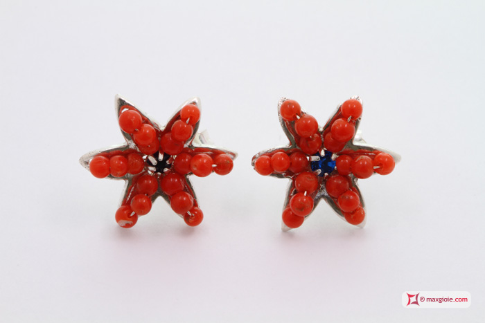 Star Earrings [Coral, Sapphire] in Silver