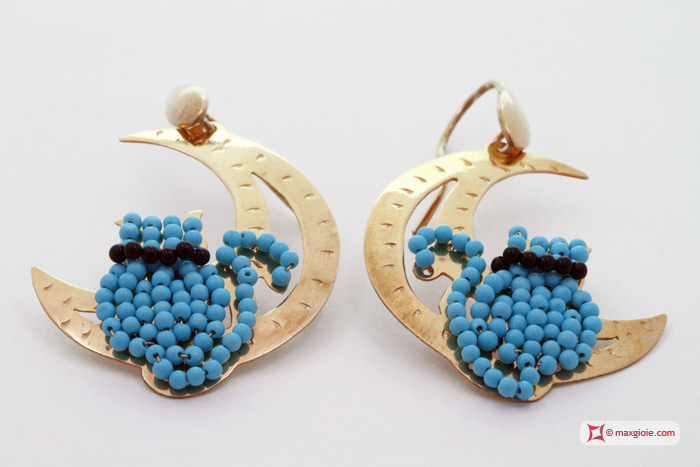Moon with Cat Earrings [Turquoise, Onyx] Gold Plated Silver