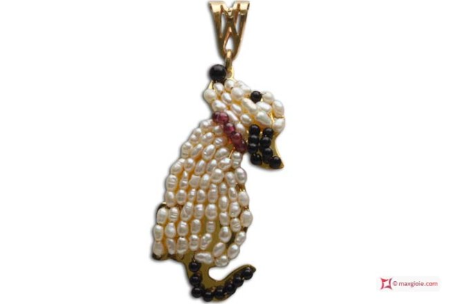 Dog Pendant [Pearls, Onyx, Garnet] in Gold Plated Silver