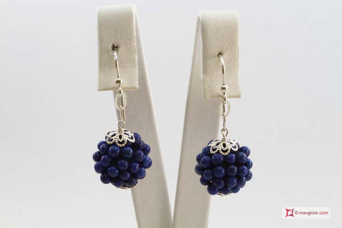 Extra Lapis Earrings 16mm weaved 3-3½mm round in Silver