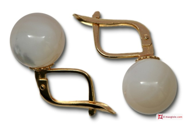 MAXGIOIE - Extra Mother of Pearl Earrings 10mm in Gold 18K m