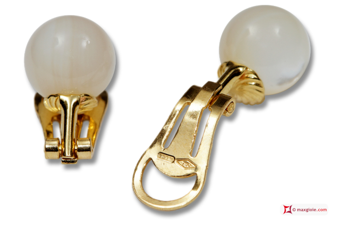 MAXGIOIE - Extra Mother of Pearl Earrings 10mm in Gold 18K clip