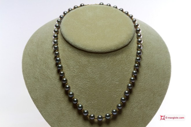 Pearl Necklace silver gray TOP gold dots 7-7½mm in Gold 18K