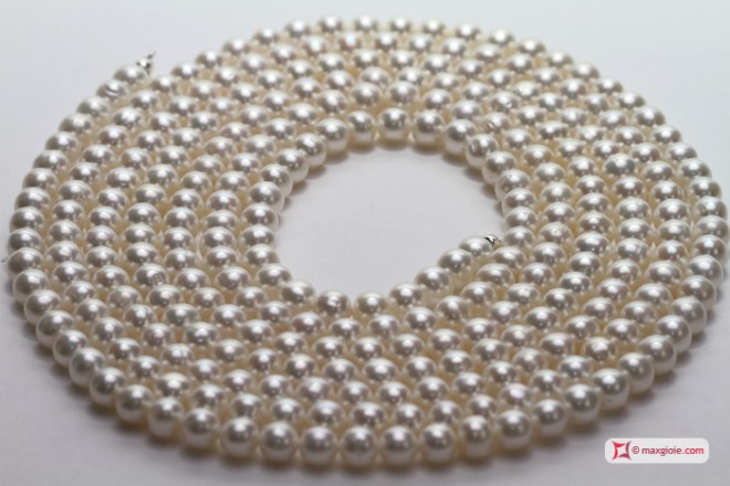 Pearl Necklace white TOP 7-7½mm L200 in Gold 18K