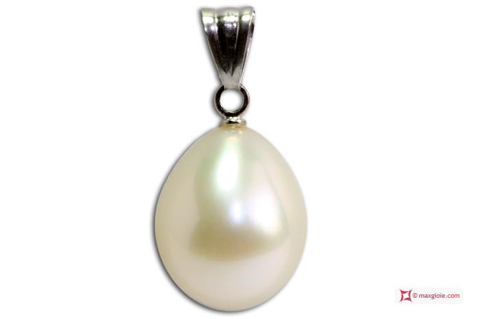 Biwa Pearl Pendant gray TOP 10-10½mm in Gold 18K