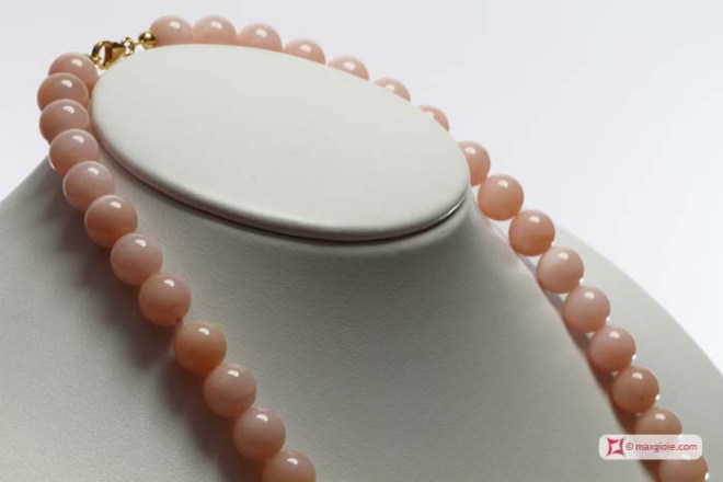 Extra Pink Opal Necklace 10-11mm in Gold 18K