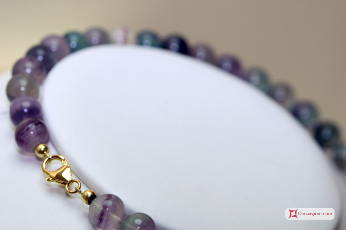 Extra Fluorite Necklace 10mm round in Silver