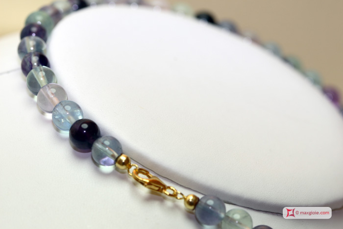 Extra Fluorite Necklace 8mm round in Silver