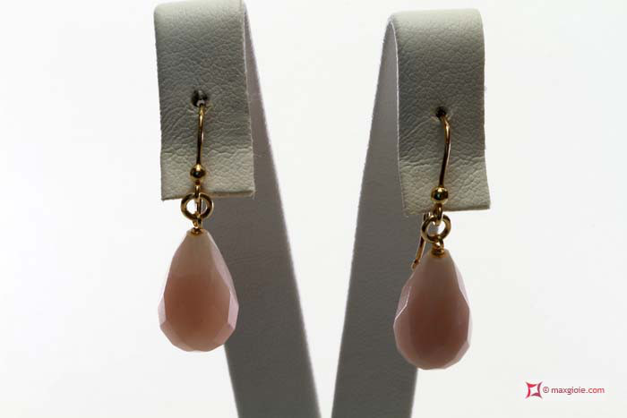 Extra Pink Opal Earrings 10x17mm faceted in Gold 18K