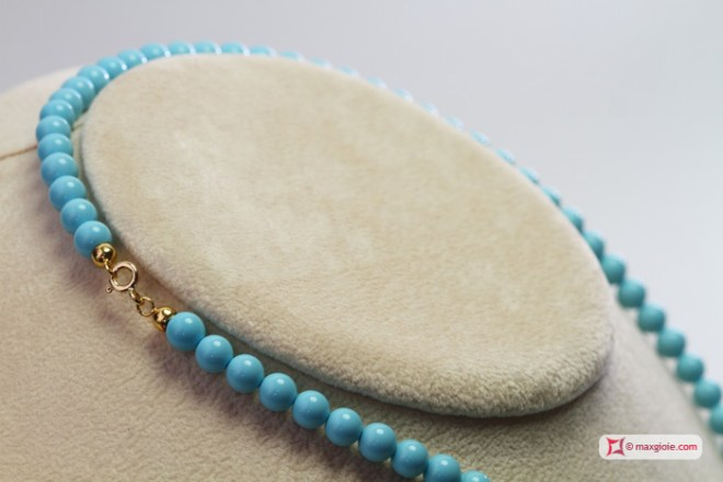 Extra Turquoise Necklace 6mm in Gold 18K