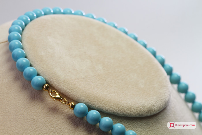 Extra Turquoise Necklace 8mm in Gold 18K