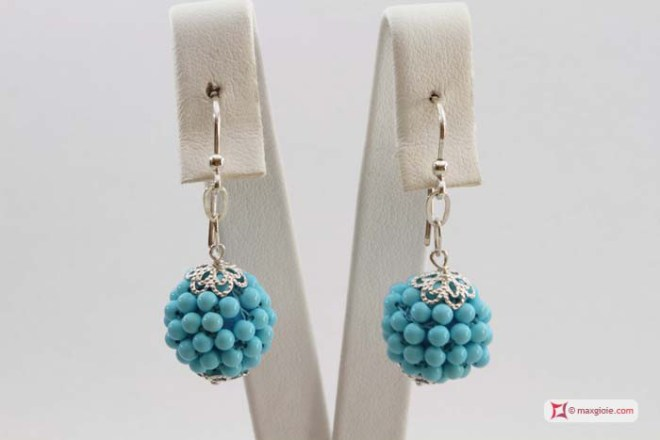 Extra Turquoise Earrings 15mm weaved 3mm round in Silver