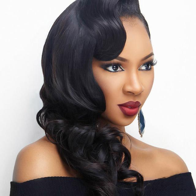 human wigs for sale | brazilian hair | body wave hairstyles | shoulder length | 7a | black hair | 14 inch - maxglam