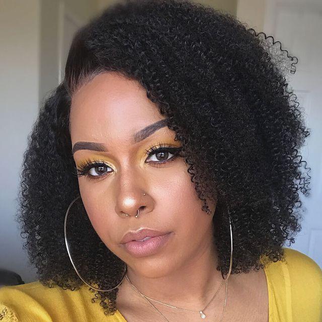 human lace wigs | brazilian hair | kinky curly hairstyles | medium length | 7a | black hair | 18 inch - maxglam