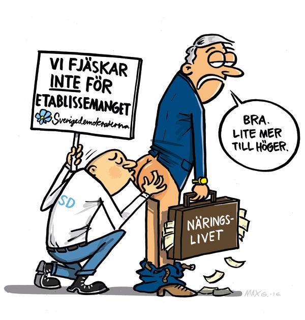 Om Sverigedemokraternas fjäskande för etablissemanget. Satirteckning av Max Gustafson.