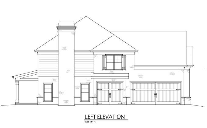Two Story 4 Bedroom Home Plan with 3-car garage