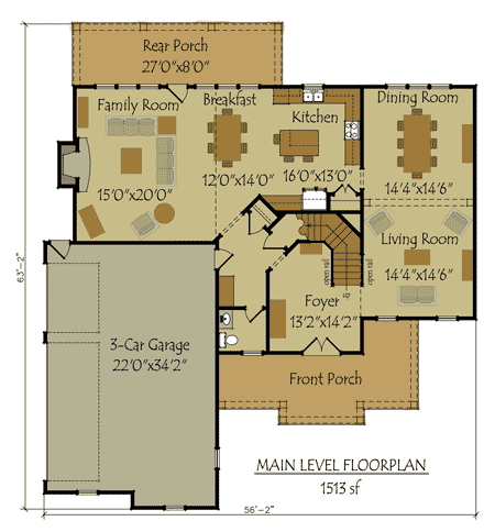 Two Story 4 Bedroom Home Plan With 3 Car Garage